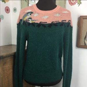 Vintage Bird Sweater Preppy Peach Green 80s Style